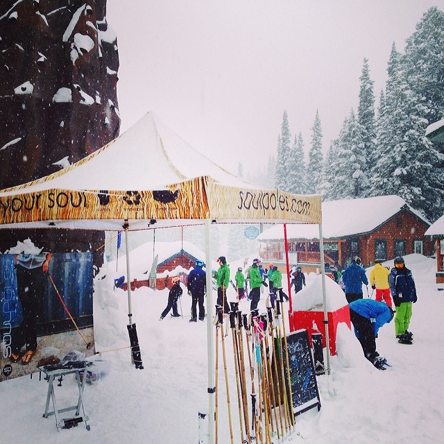 We're at @grandtargheeresort for day two of the #bigmtntelecomp.  #Poles4Soul demo all morning and we'll be building #bambooskipoles all afternoon from the mobile #SoulShop.  Oh and it's puking snow! | Mobile #soulshop presented by: @kates_real_food...