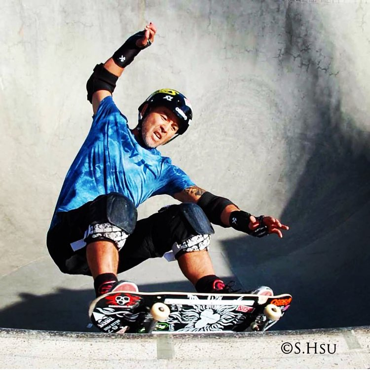 Rad @sk8hsu photo of @lesterkasai ! Lester wears the S1 Lifer Helmet . Check out @sk8hsu 's insta for #bowlriding radness .