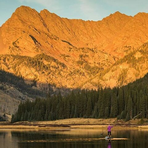 @scottbellow took advantage of the nice weather and headed up to #pineylake near #vail to #stand_up_paddle and enjoy the #sunset #gorerange #colorado #flyfishing  #halagear