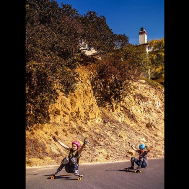 #girlsinlongboarding is photographer @mari_aprilfool's personal photo project about women in #longboarding. Check out her amazing work! In the pic, #MicaelaWilson & #AmandaCaloia in CA. Check her Fb fanpage!