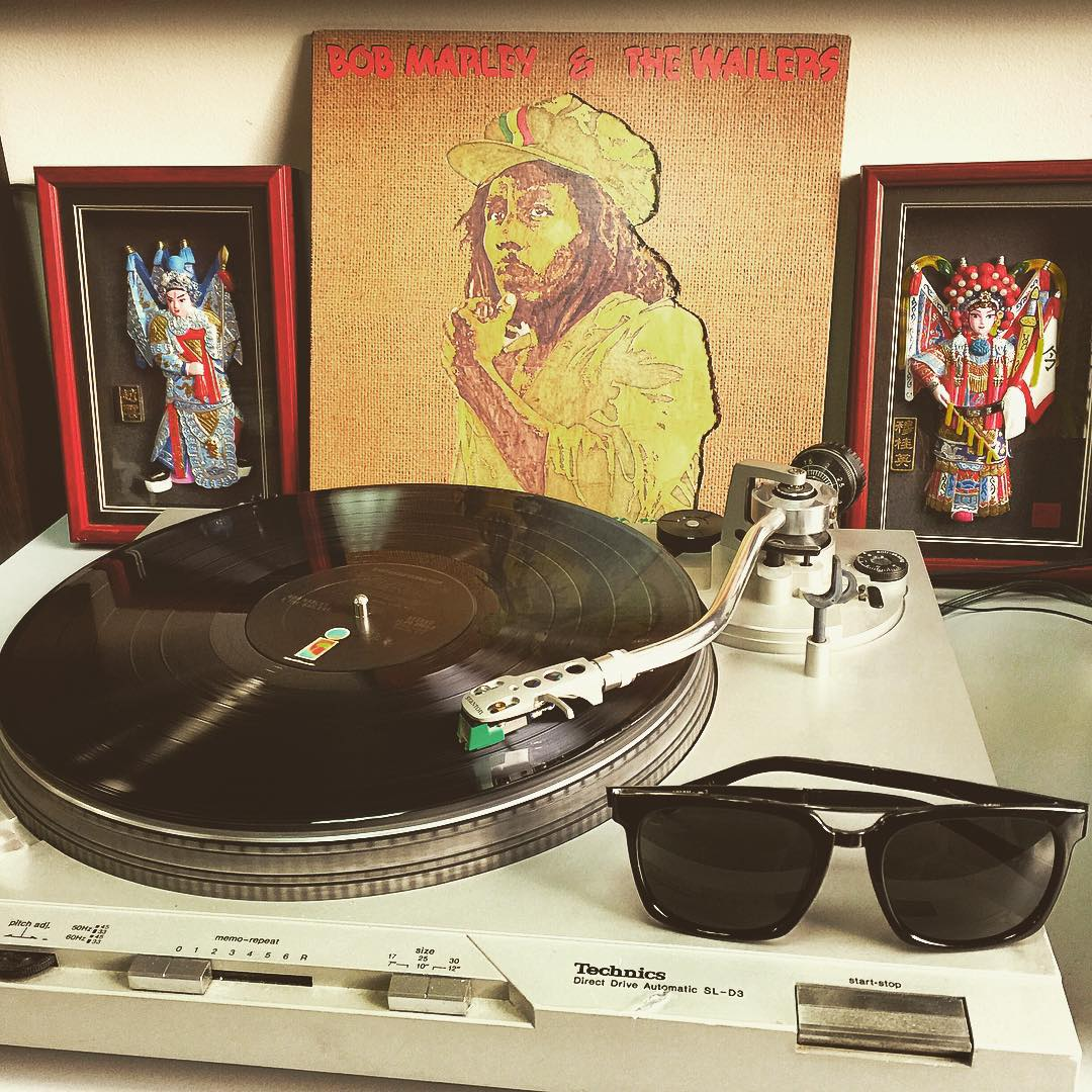 This weeks #TurntableTuesday is a solid one for fall weather as it rolls in. #BobMarley was an amazing human and that's what we are all about! Check out the all new #Plimpton shades front and center, now available on our site! Spin some vinyl and tag...