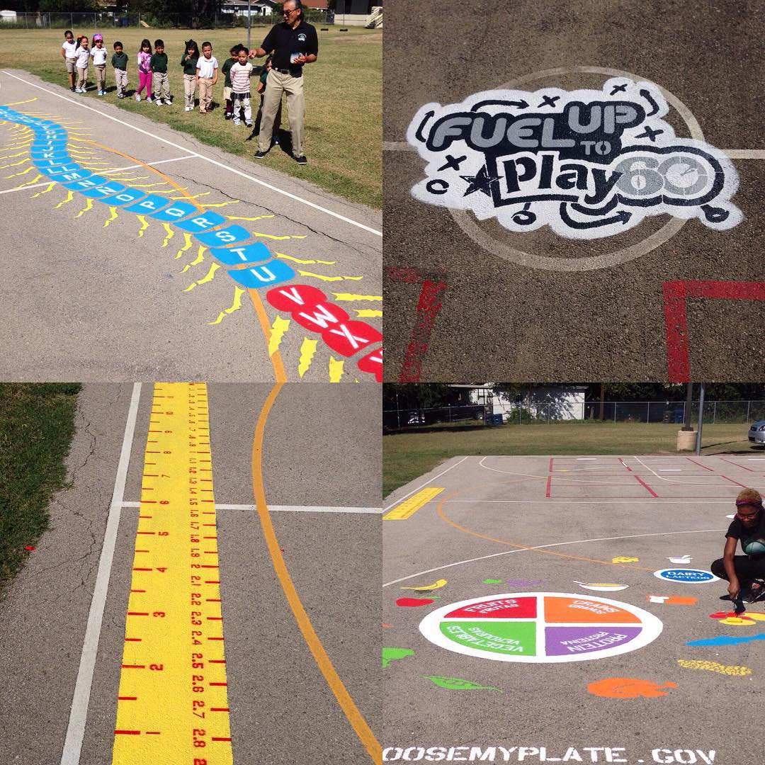 "Over the past 4 weeks we have helped transform 5 San Antonio elementary school playgrounds into giant learning game boards. • • It's a program called ""Fuel up to to play 60"". The games are designed to help educate, promote healthy eating habits, and..."