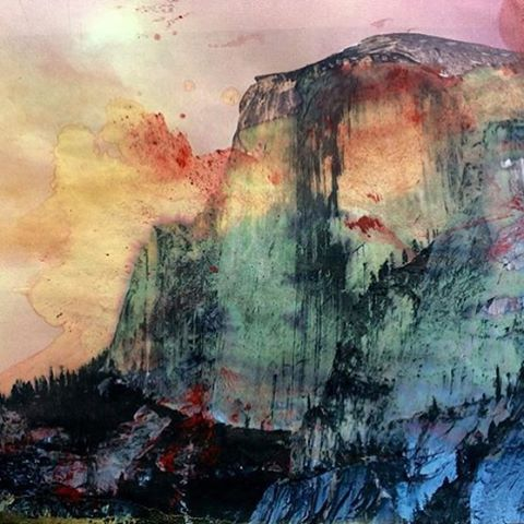 A R T  O F  T H E  P A R K  Our good friend @usasolberg put a pigment print with some oil & watercolor to create this masterpiece. #yosemite #radparks #halfdome #americathebeautiful #artofparks