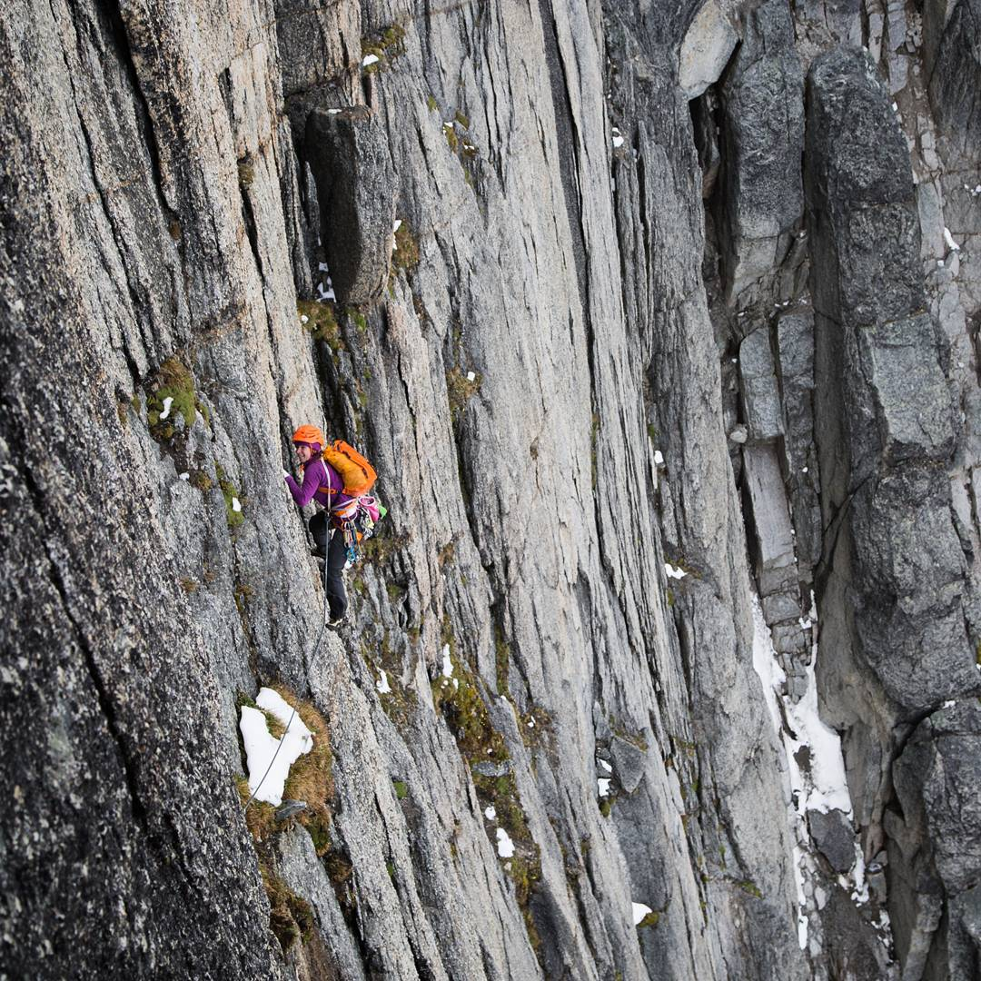 VAMPIRE SPIRES 5: The climbing on Moraine Hill consisted of moving from grassy snowy ledge to grassy snowy ledge and LOTS of chimneys full of loose chockstones. Adventure was high! In this picture I'm about to enter the crux section of the route, a...