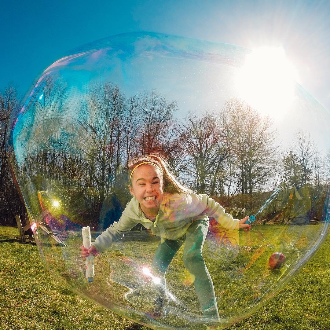 Photo of the Day! No bursting Sarah's bubble on this beautiful day. #