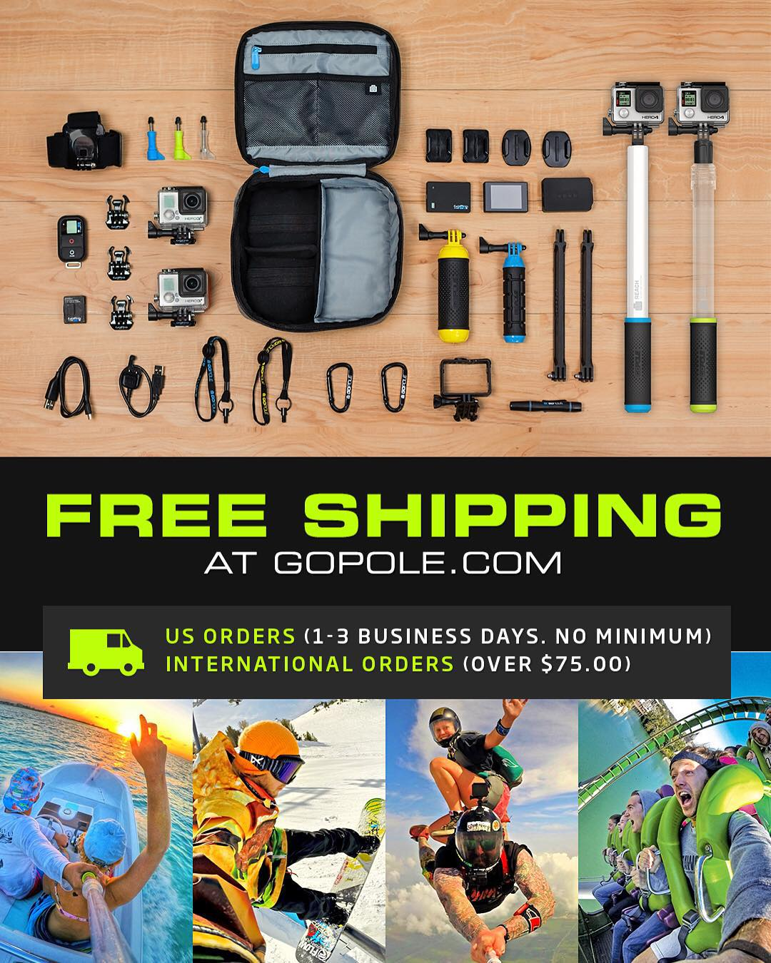 Free 1-3 day shipping (USA) + Free worldwide shipping on all orders over $75 at GoPole.com. Shop now by clicking the link in our bio, limited offer. #gopole #freeshipping #