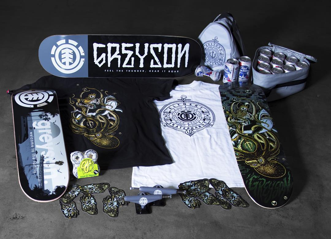 Introducing the @Greyson_Fletcher Pro package… His welcome boards, custom @independenttrucks/ @ojwheels, his tee's, and a custom beer cooler we made him. Hit your local skateshop and pick em up today! Link in Bio! #greysonispro