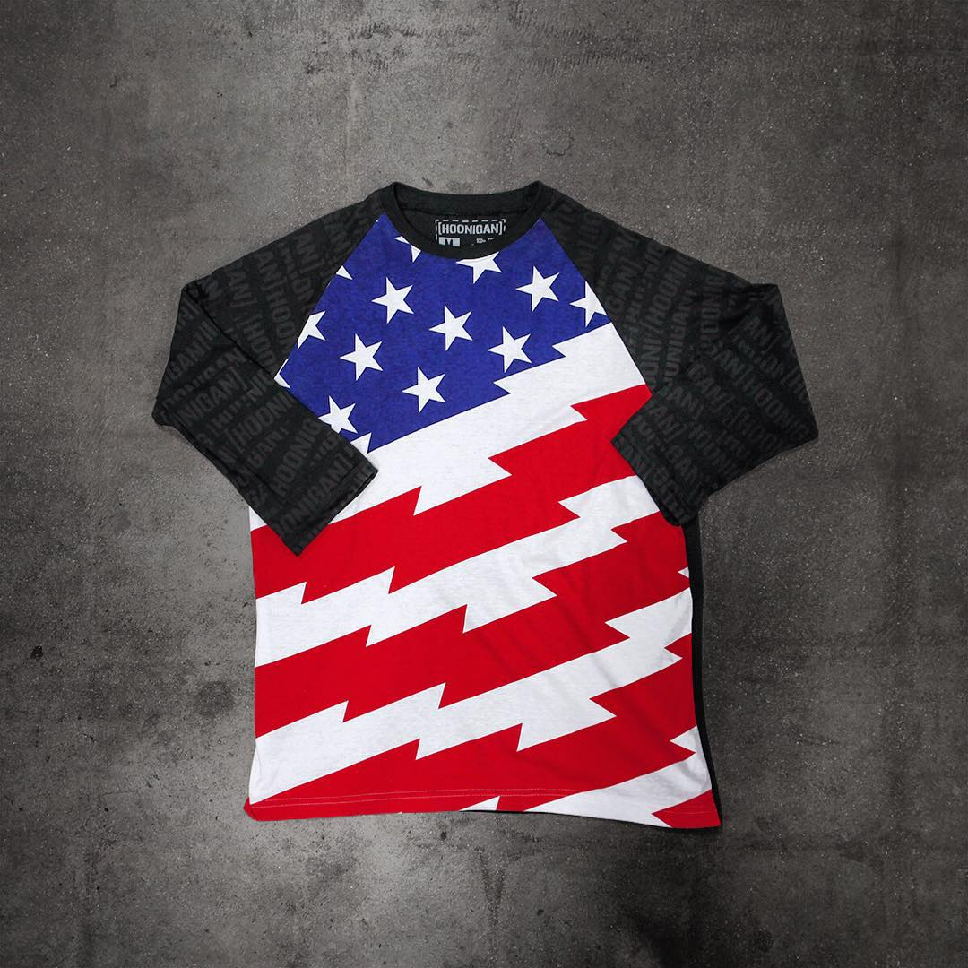 The Stars and Stripes raglan with subtle black on black #HNGN printing on the sleeves. Get it on #hooniganDOTcom