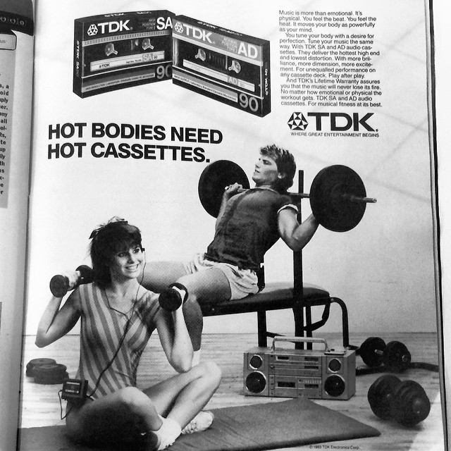 #tbt 30 years ago this week @rollingstone ran this awesome TDK ad in issue 459. Hot bodies need hot cassettes. #tdk #cassettes #vintageads #rollingstone #hotcassettes #printad #weightlifting #tapes