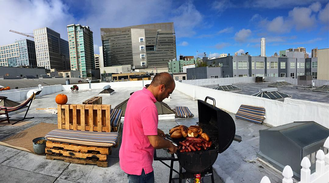 Rooftop team lunch at MAFIA HQ from our very own @pampabbq! #mafiateam #chimichurri #SoMaSF #sfrooftop