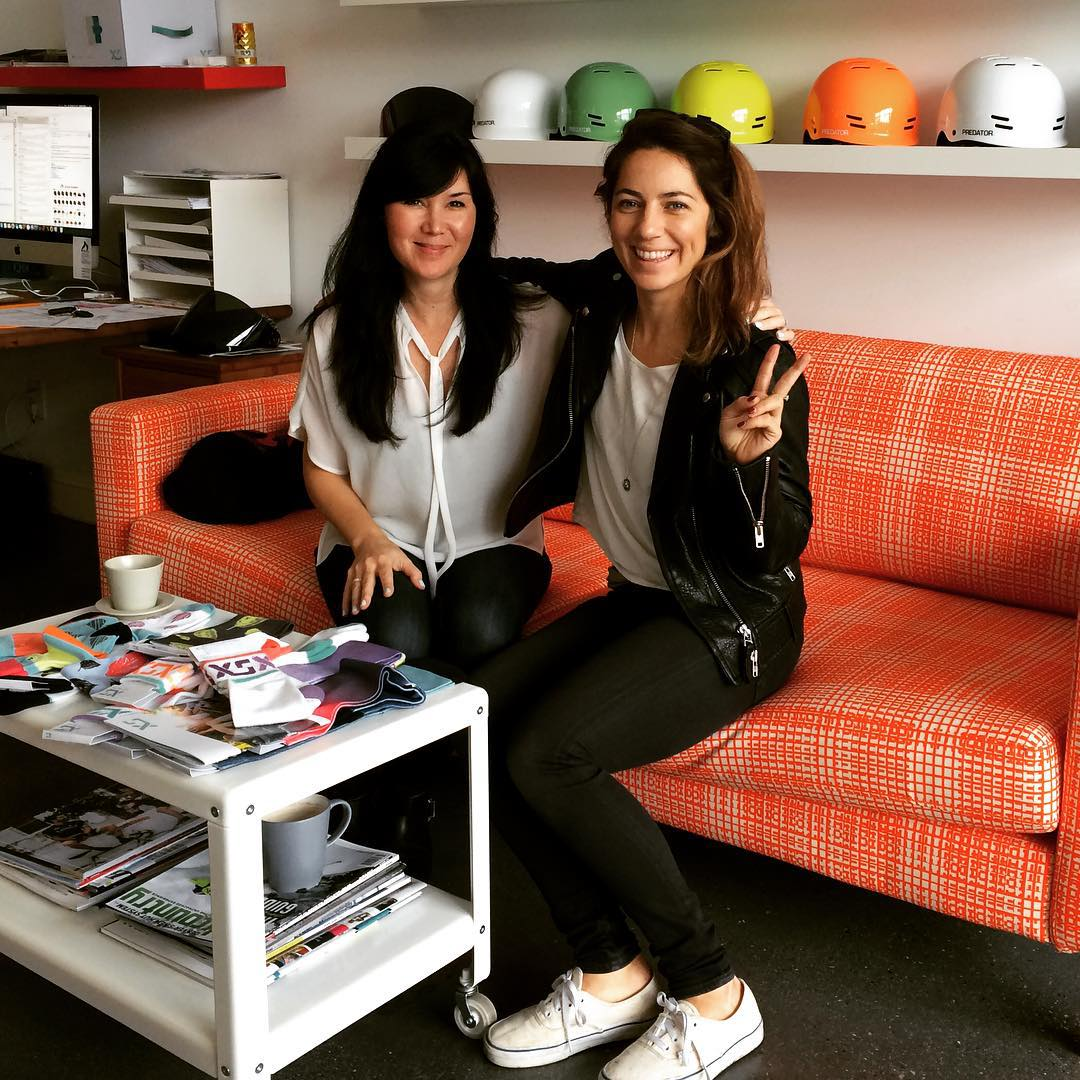 Great to see @leannepelosi today at XS HQ! We're excited to support Leanne's event the #earlybirdsocial this year with XS socks! #xssocks