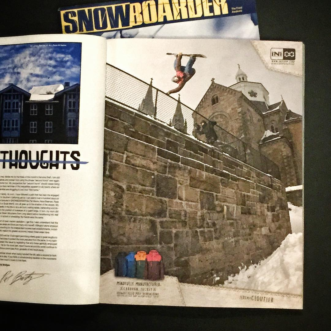 @snowboardermag issue hitting shelves now. | Ft. @jeremycloutier in the streets of #QuebecCity . #CaravanJacket 10k, 4-Way STRETCH shell. #snowboarding