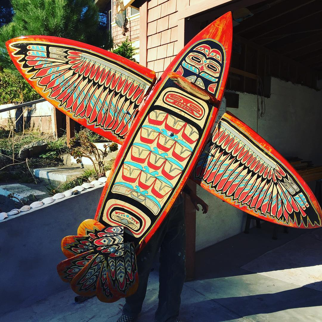 "This recycled bird from @gnarlytubes is flying all the way to Japan to be hung in a surf/ permaculture/skate shop in Tokyo, and we were ""Tanoshi"" to help our favorite artist-in-residence bolt it all together in Bolinas today."