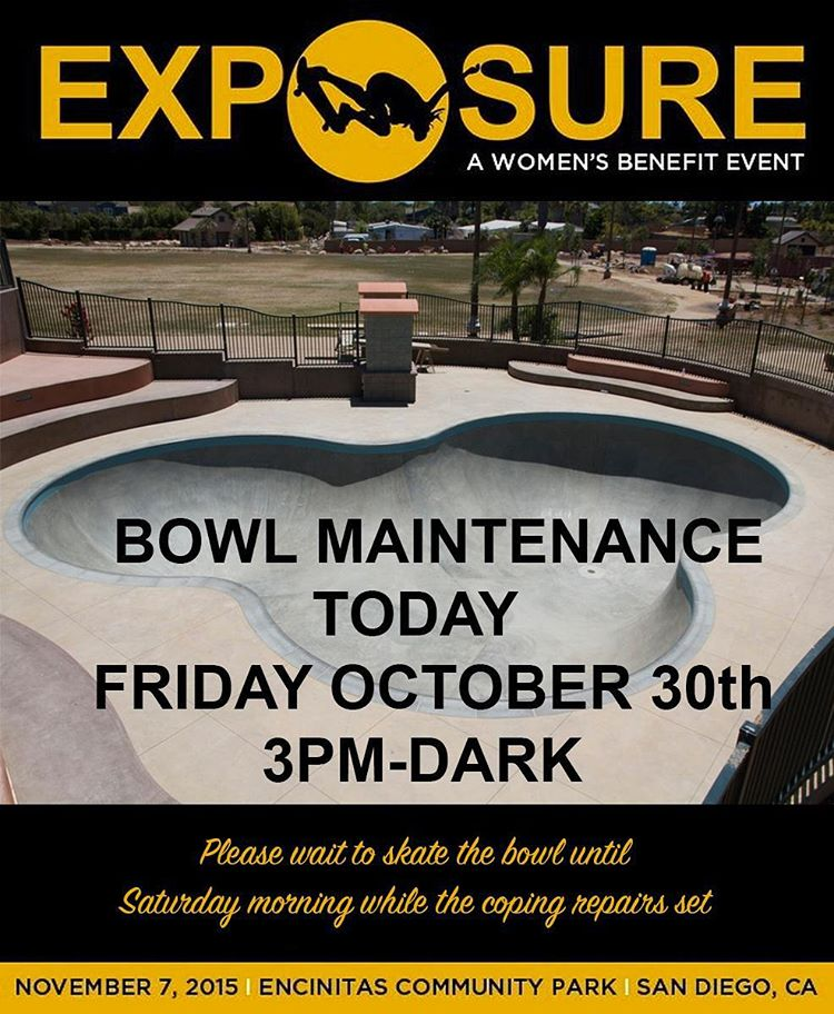 There's some pool coping maintenance going on today from 3PM 'til dark at the Encinitas Bowl.  Thanks for your patience as we set it up right for more ripping, and big thanks to all the locals for their help and for taking such pride in the park.