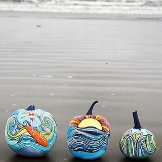 Our kind of pumpkin decorating // artwork by: Alisa Burke #halloween #pumpkin #bash #diy #create