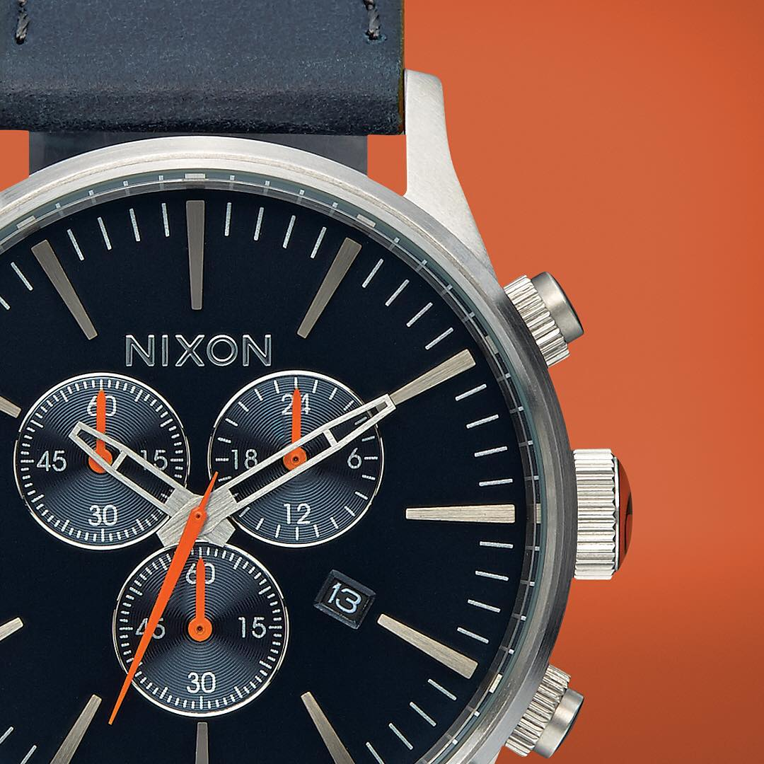 The Perimeter Pop collection elevates the iconic #SentryChrono with a contrasting solid base colors with just the right amount of explosive pops of color along the trim. #NixonNow