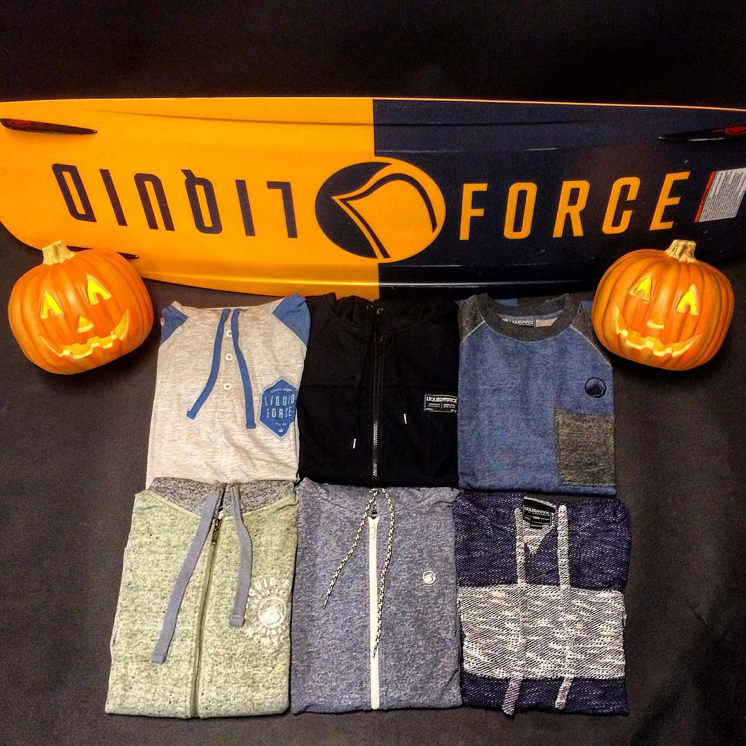 "50% off any fleece pictured now through this Sunday at midnight. Use promo code ""SPOOKY""  liquidforceapparel.com"