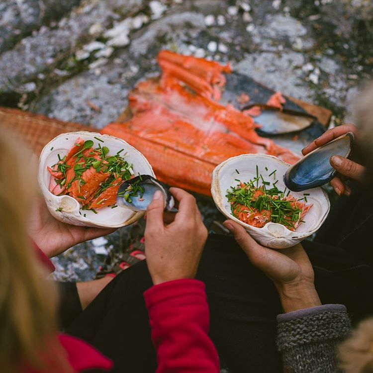 ...and then we got to enjoy fresh wild salmon after adventuring through the #GreatBearRainforest #BritishColumbia...Do you like our clam dishes, muscle spoons, and wild onion garnish?  #livewild Don't eat or support farmed fish or I'll personally...