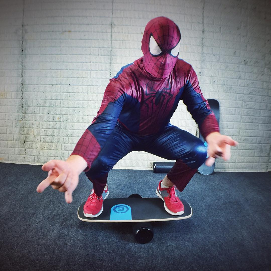 Spidey came by to make sure his skills were in check, and they definitely were. Stay tuned... #halloween #spideybalance