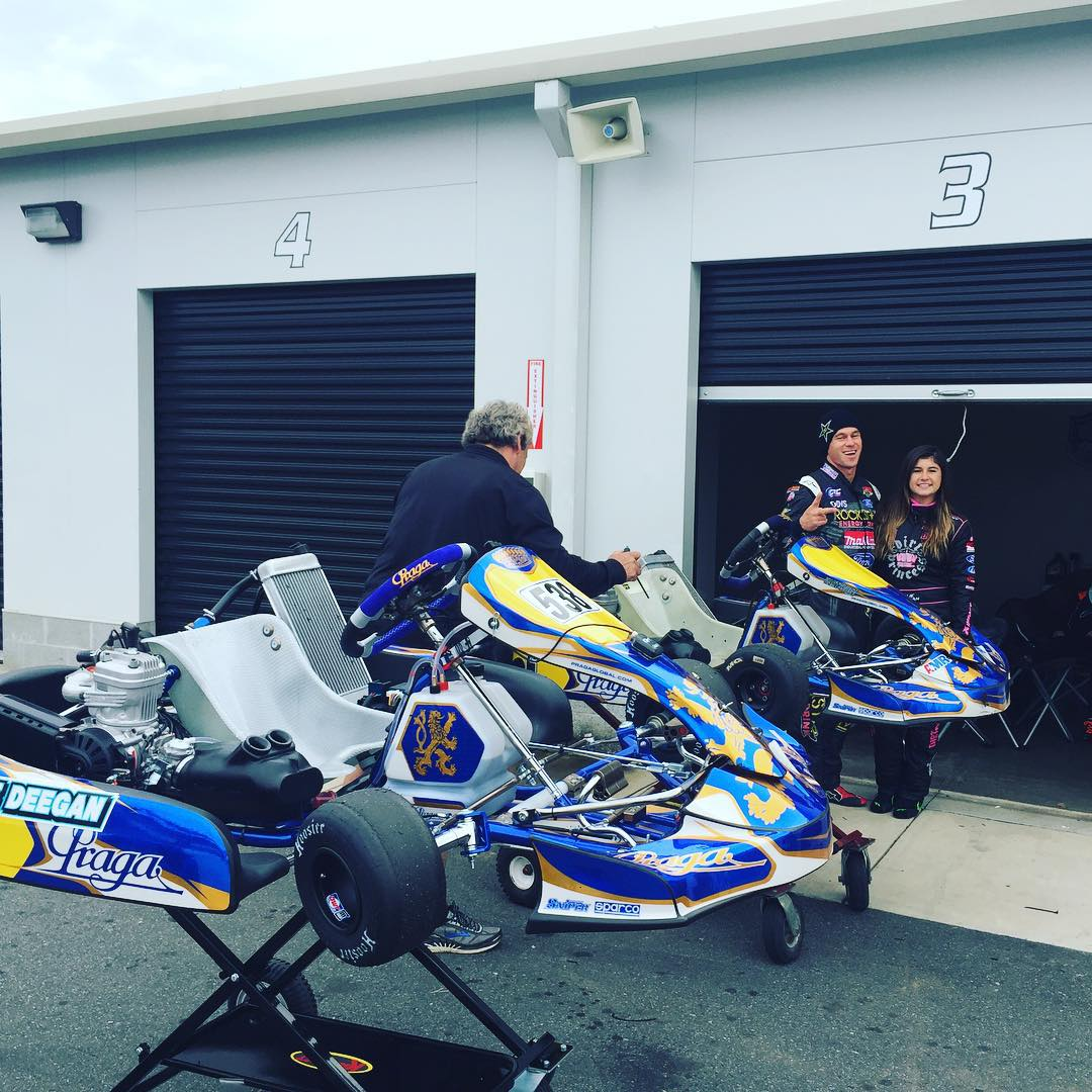 There goes the neighborhood ! Posting up in our garage with #karts at #gopromotoplex . #gameon #northcarolina #karting #gokarts never stop learning.  @hailiedeegan538 #racingfamily #deegan38