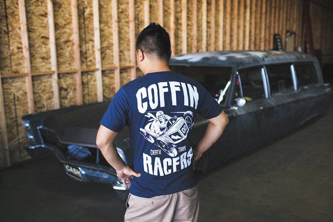 Rolling out the hearse and prying open some caskets to unveil some new gear today at the #donutgarage Bakery. The Coffin Racers tee and snapback available now.  621 Golden Ave Long Beach, CA 90802 #open12till5pm