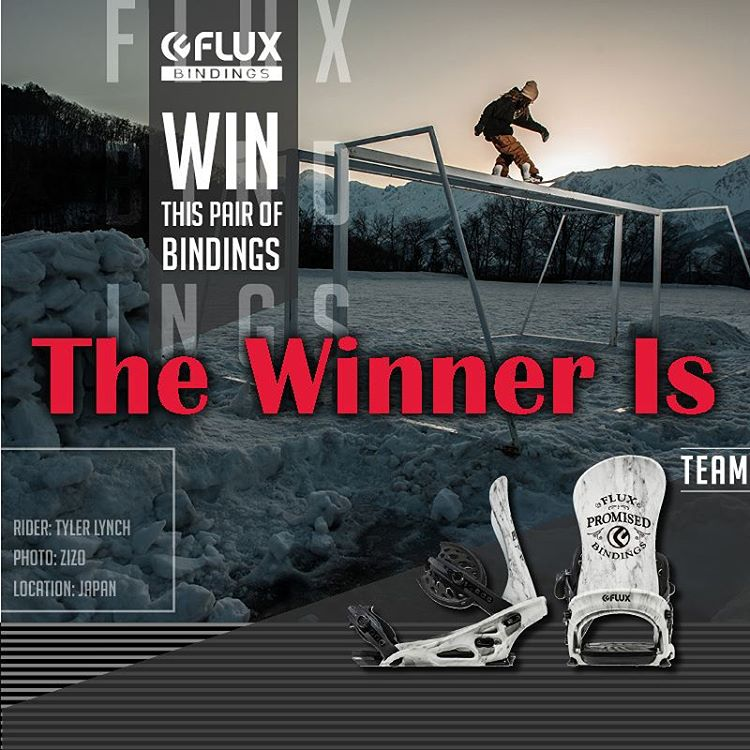 The winner of the Flux TEAM Bindings is… Flux team rider, Tyler Lynch @sababa_life selected Derek Jones @_derek_jones to score the new binders. If you didn't win, don't worry, the contest for the Flux V/SUAL @vanstyles collaboration bindings starts...