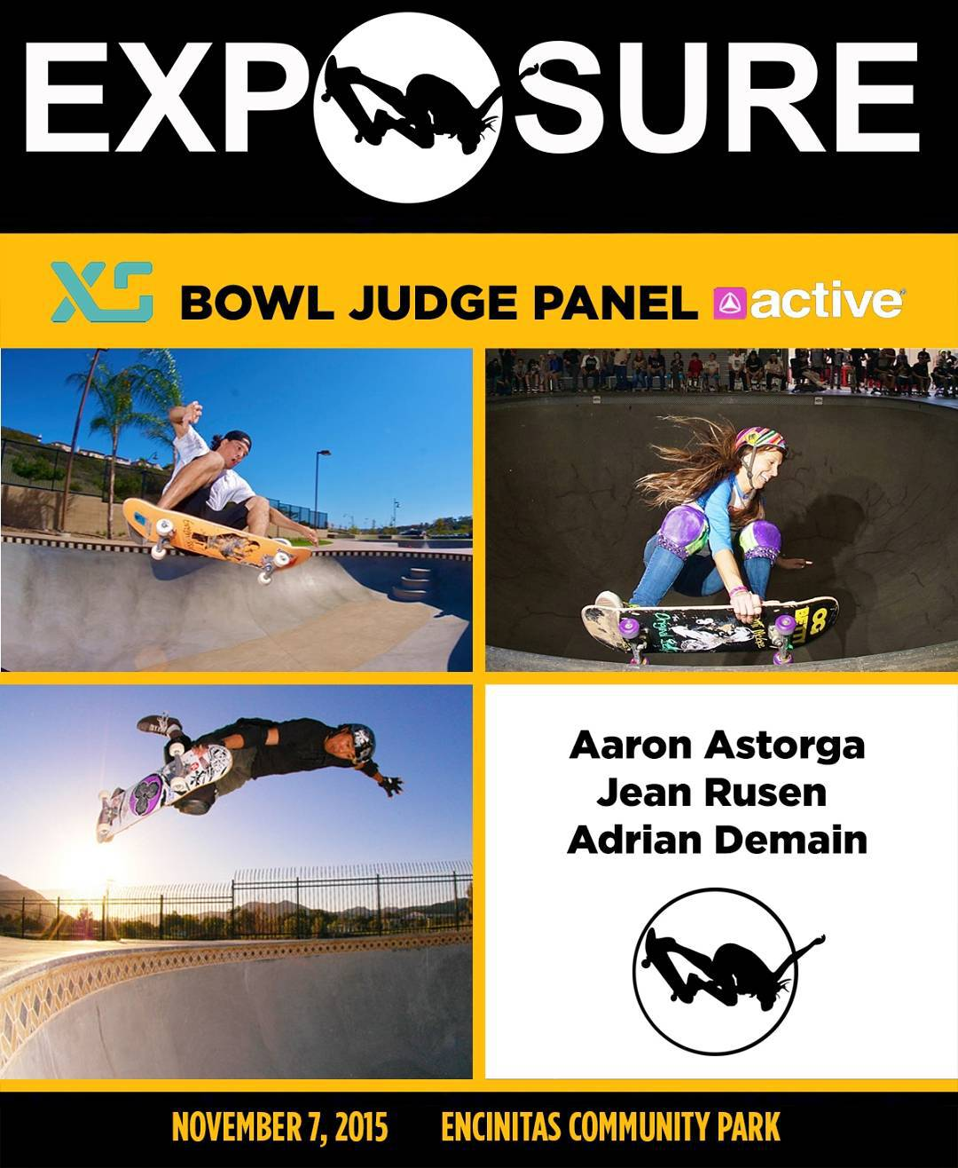 The @xshelmets x @activerideshop Bowl Competition will be judged by Aaron Astorga (@ask8s), Jean Rusen (@calamity_jean) and Adrian Demain (@adriandemain)!! Stoked to have such amazing people on the deck. Photos by: @sparagram and @radballs