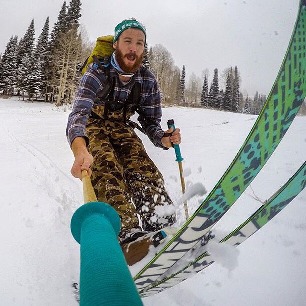"5"" is more than enough snow to get our good friend Cy Whitling stoked yesterday at 'The Ghee'! Hai yah!  #TribeUP snow!  Repost: @cywhitling  #PandaPoles #PandaTribe"