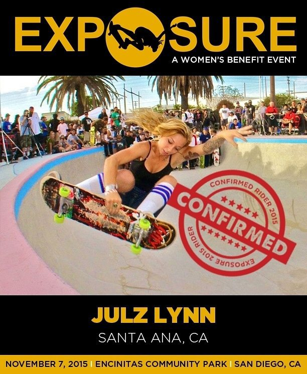 @julzlovespools is confirmed for #exposure2015 ! We are excited to see this girl tear up the bowl and vert competitions again this year!