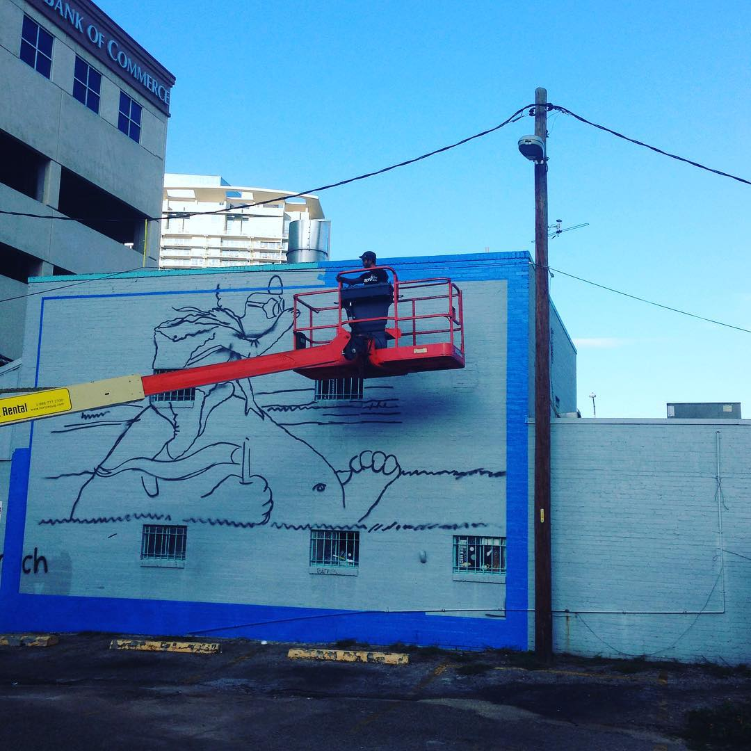 "If you are alive after last night, come say ""hi""! @lucasaokiart painting a new piece behind  @wahoosfishtacoatx & @hoffbrausteaks at the corner of 6th and Rio Grande. • • #atx #austintx #texas #tx #art #spratx"