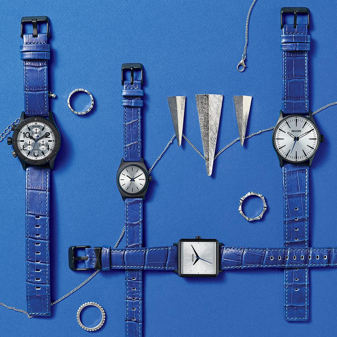 Bright and blue gator embossed leather, The #WildThing collection is an undeniable thing of beauty and a look with visual impact. #NixonNow