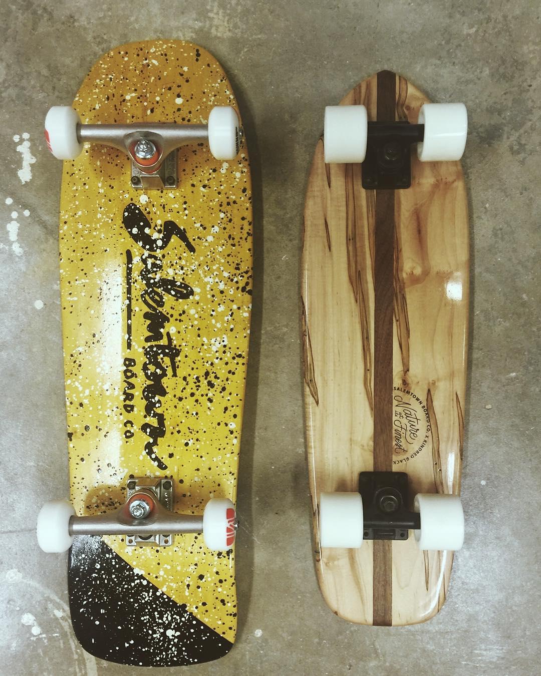 "Different flavors of ""old-school."" But both are pretty good. #handmadeskateboard #handmade #skate #handmadeskateboards"