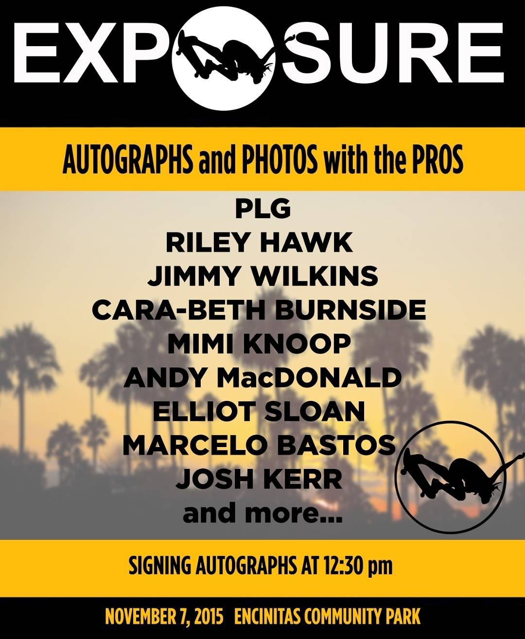 We are grateful to have the likes of these amazing skaters and surfers signing autographs at #exposure2015! @plg @jimmy_wilkins @carabethburnside @mimiknoop @andymac720 @elliotsloan @marcelobastosk8 @josh_kerr84 , thank you all for donating your time...