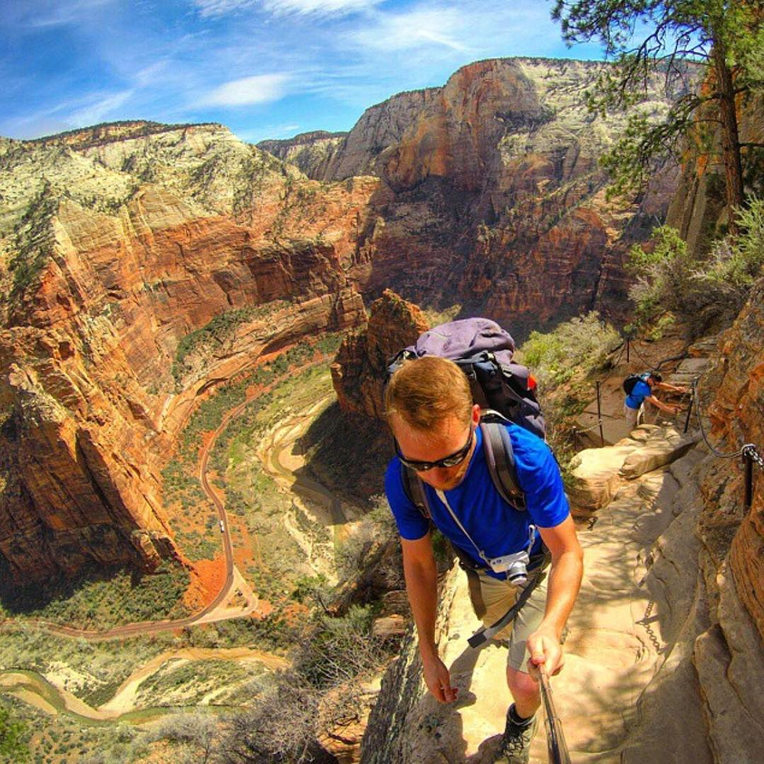 Keep climbing, the view keeps getting better  @arizona_adventurer rocking the SoCal shades  #Kameleonz #AngelsLanding #ZionNationalPark