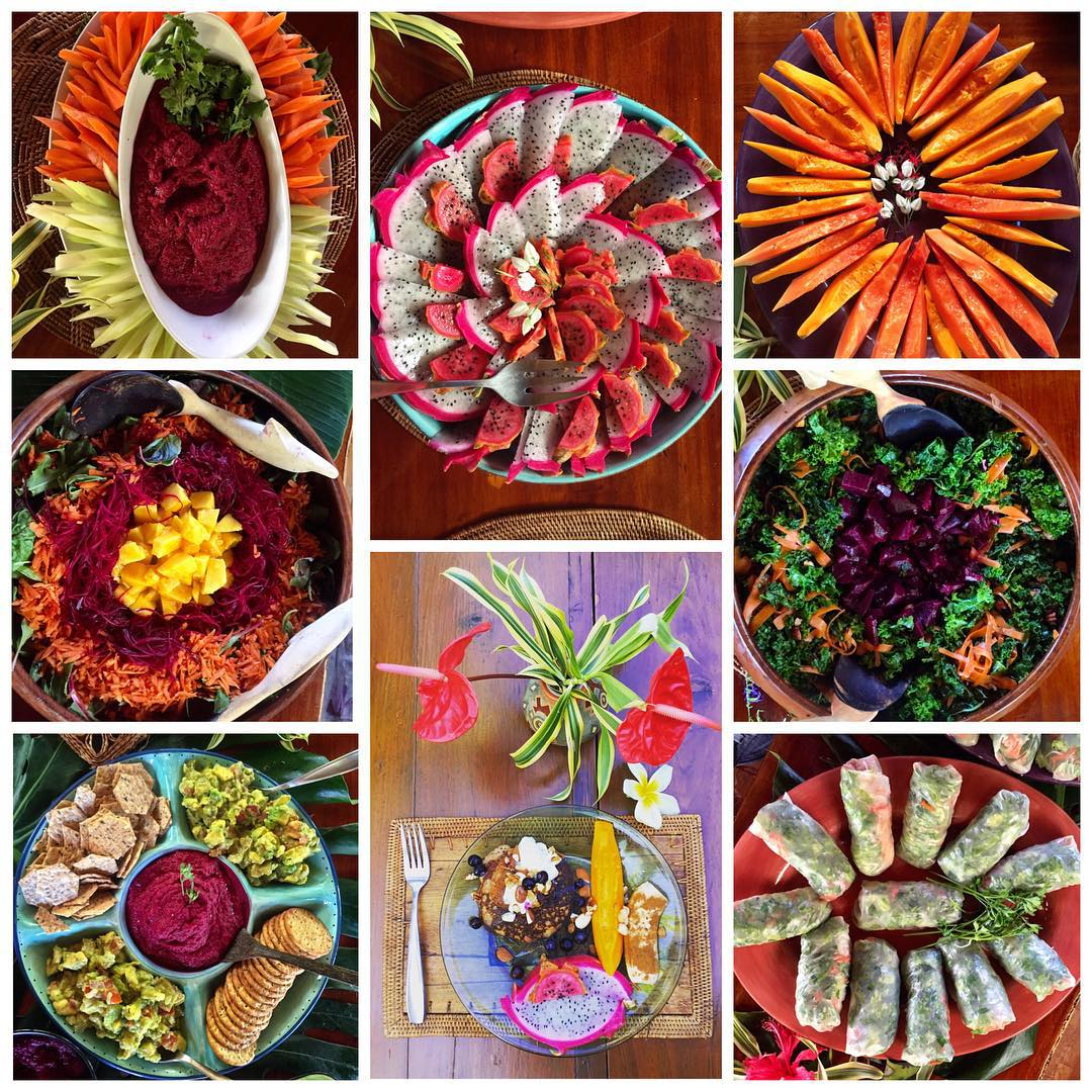 Growing up with a incredible naturalist mommy I have learned to work with the fresh organic food from our land and surrounding farms to created a feast for the eyes and the tummy! Here's a few of the fun dishes we've created this past wk including beet...