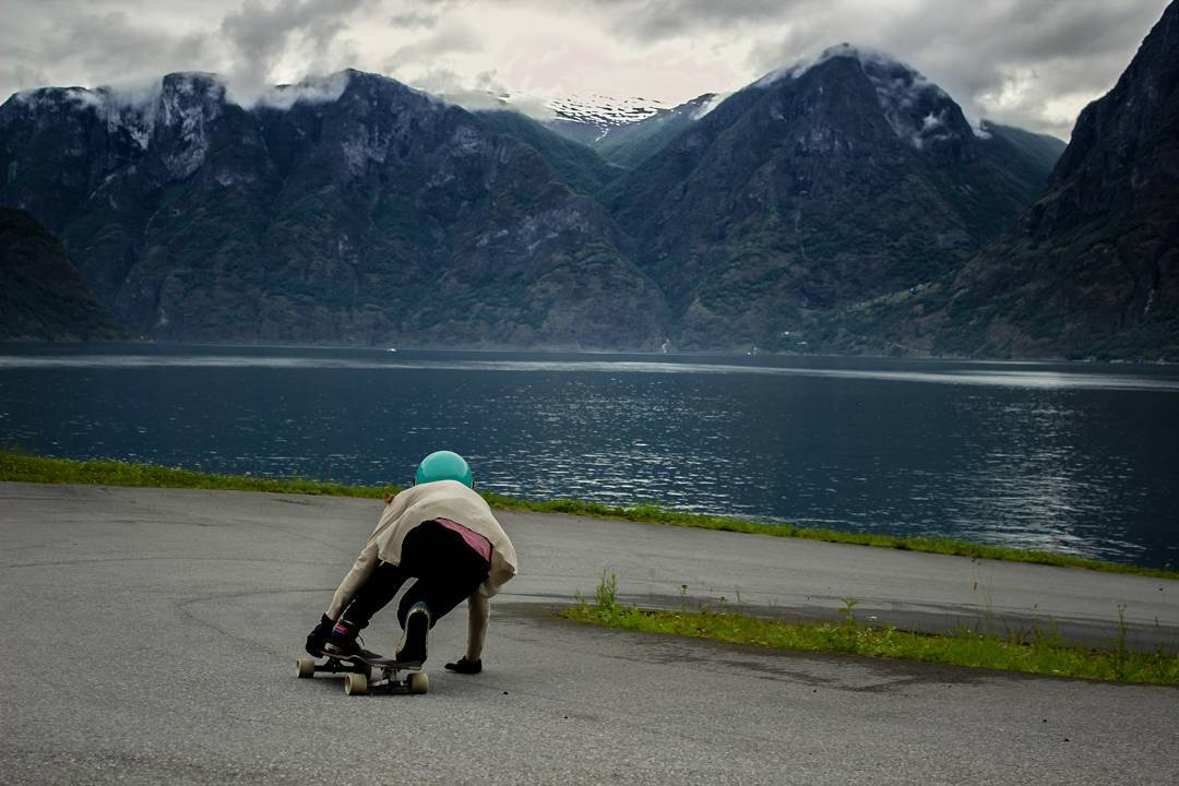 @cassandraduchesne going for a swim in Norway.  #restlessboards #restlessnkd photo by Sam Davignon