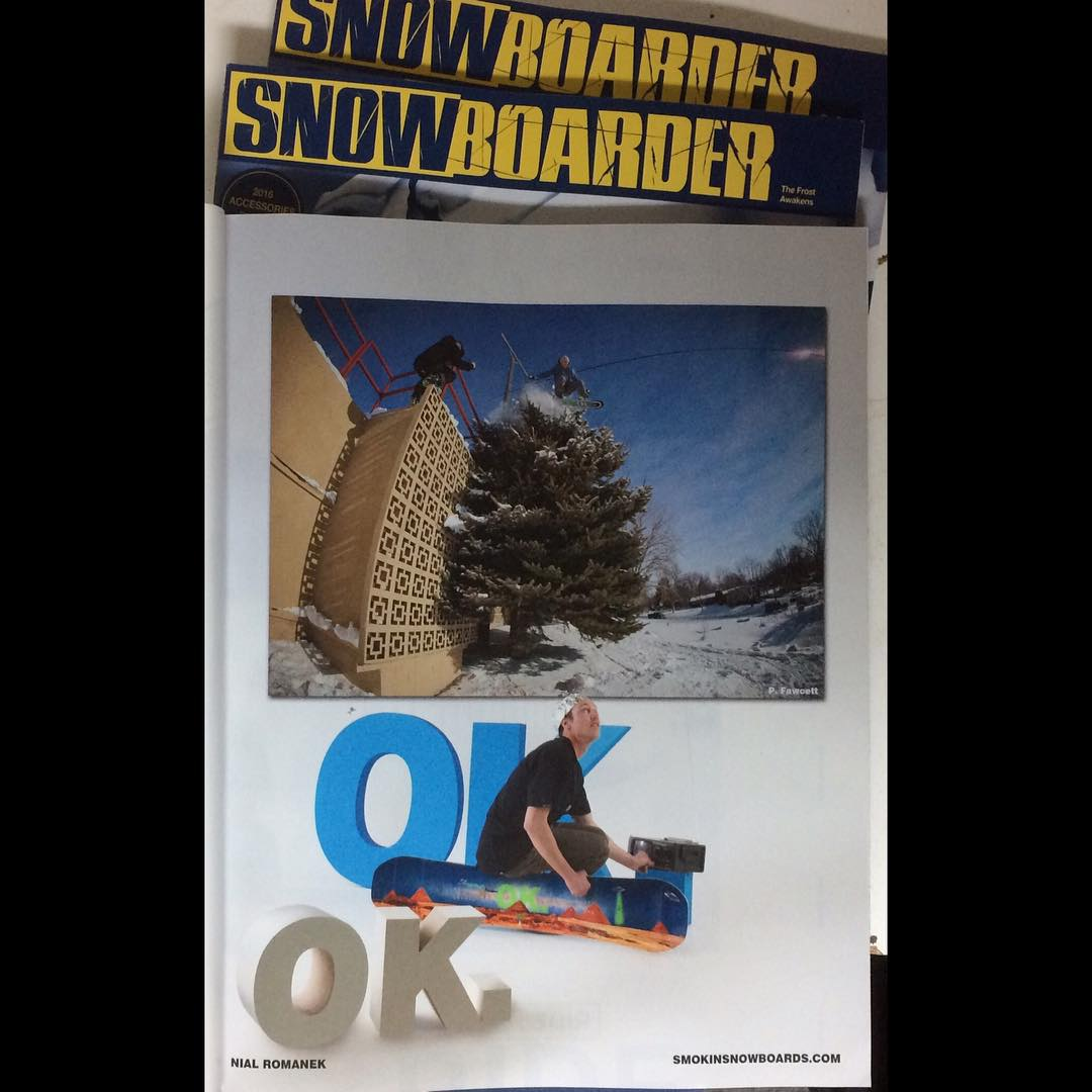 Te November issue of @snowboardermag just arrived- the #Smokinroadtrip article is dope. Check out @nial_romanek new ad.