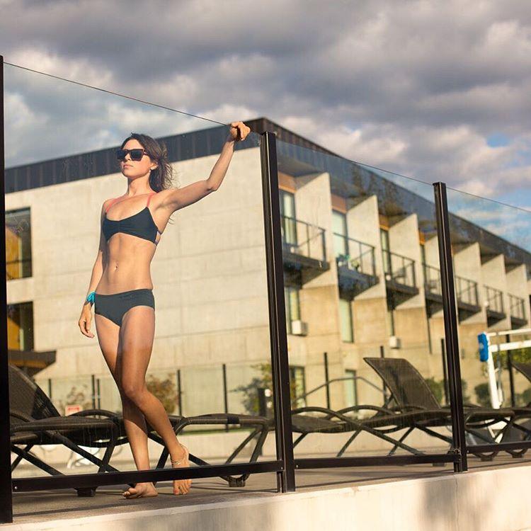 Poolside #style sleek in black.  #sensidawn #bikini #pool #beautiful #jointheadventure