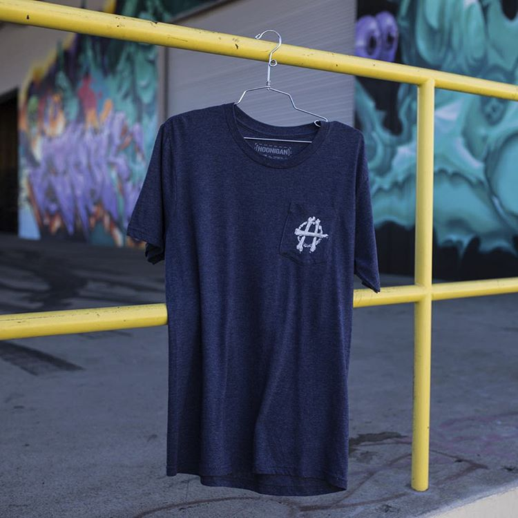 The Hoonarchy Pocket-tee is available in Navy, Black and on #hooniganDOTcom now.