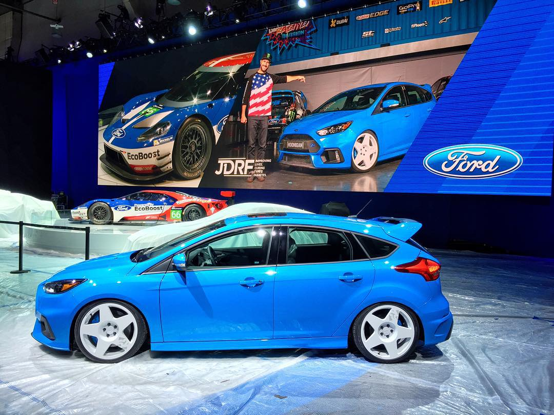 Ford Focus RS photo inception! Come see the Ken Block/Hoonigan customized RS that @FordPerformance and I are raffling off to benefit the Juvenile Diabetes Research Foundation. You can still buy raffle tickets on-site here at SEMA, so come see the car...