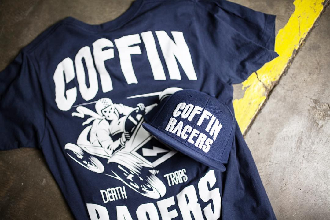 The Coffin Racers tee and snap back. Available now on #hooniganDOTcom