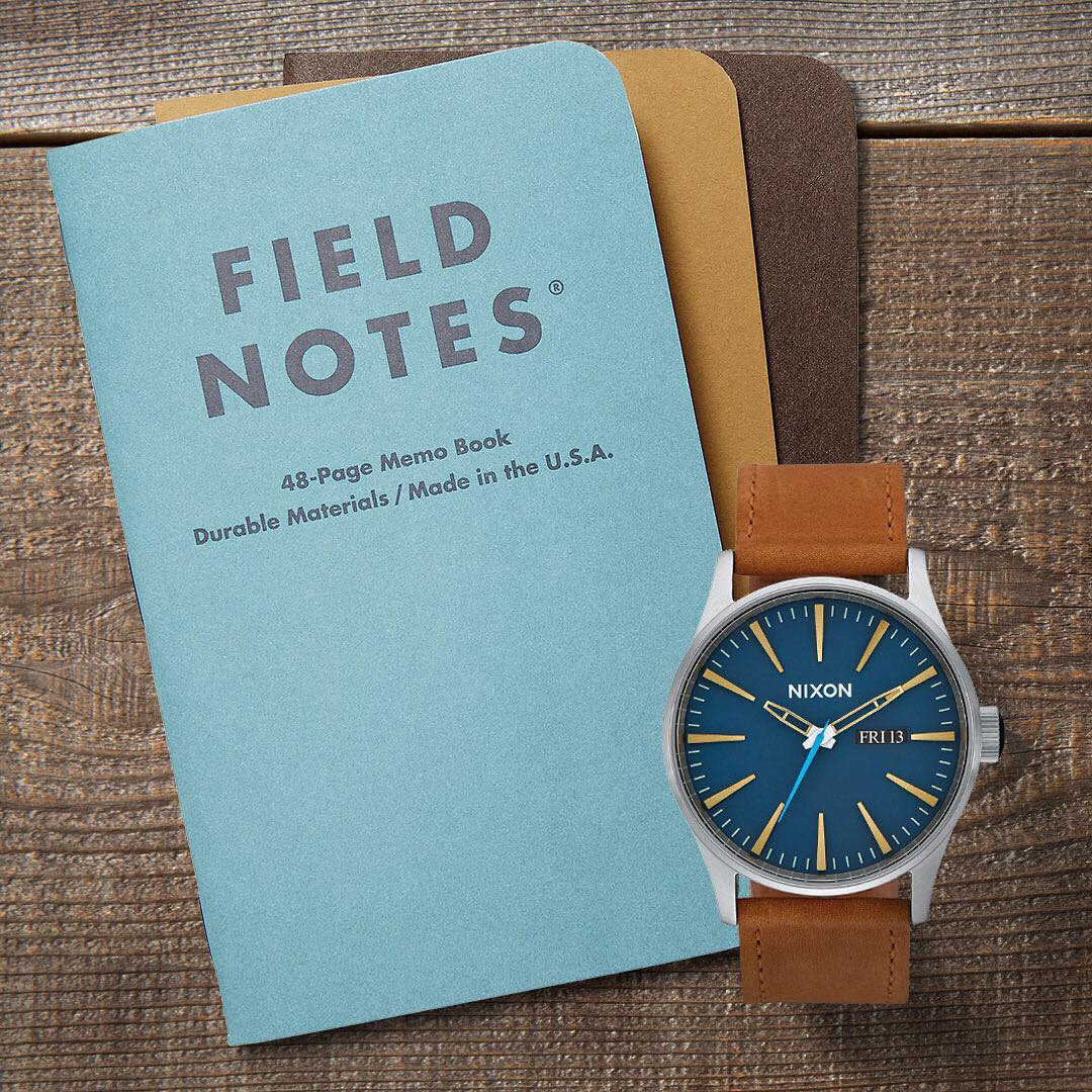 While it's true that you never know what is going to happen, the #SentryLeather covers most of the bases and @fieldnotesbrand will always be there to archive the journey. Limited edition Nixon x Field Notes 3-pack and Sentry Leather in Navy/Brass...