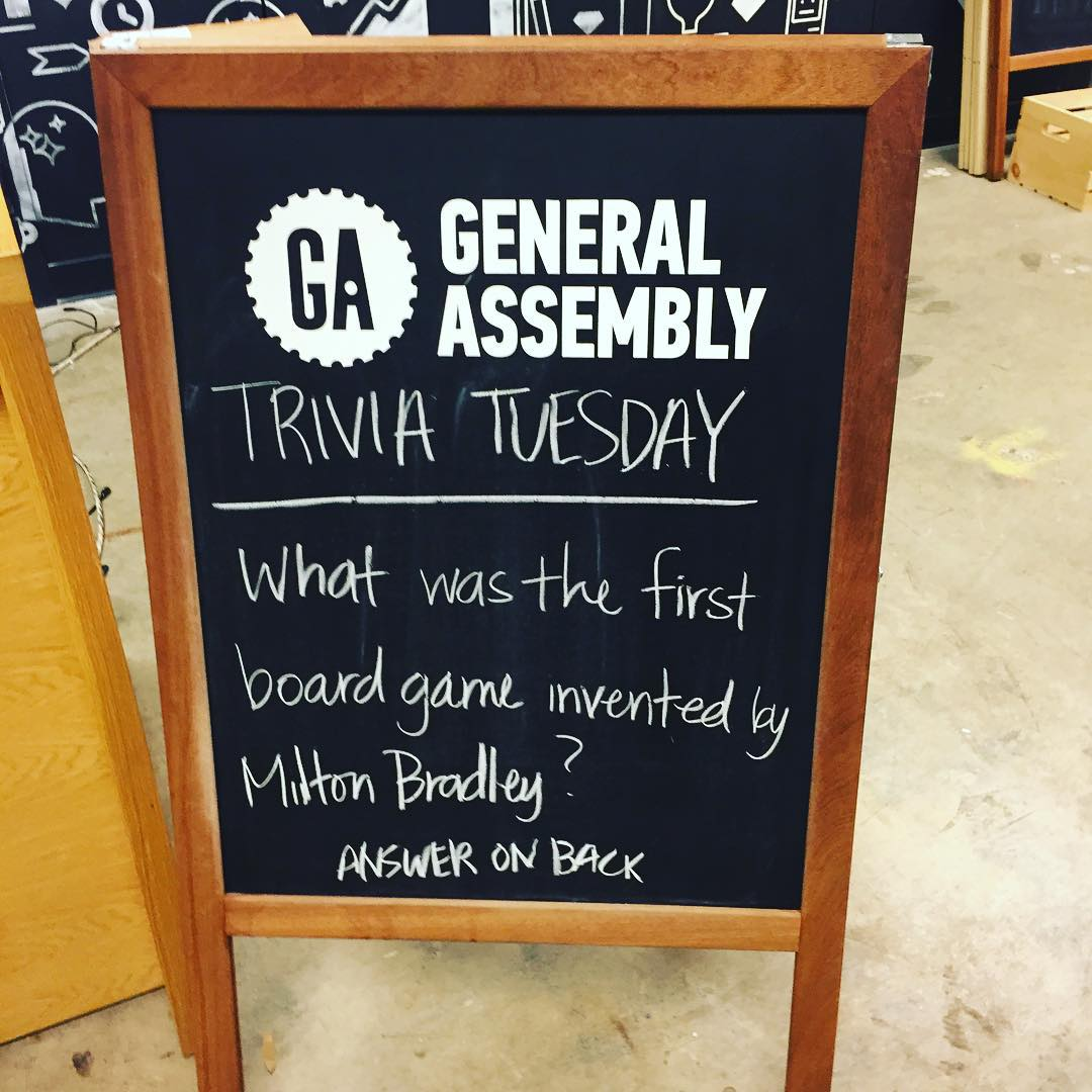 What was the first board game? What was your favorite board game growing up? @generalassembly @1776dc #ga #games #triviatuesday