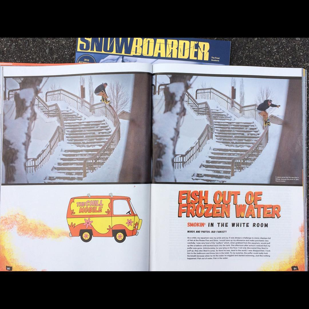 Here's the first article the Smokin Team has had published. We had @budfawcett ( one of our favorite all time photographers) who's last road trip shooting snowboarding was for # Roadkill, in 1992. It's rad to see his photographic style incorporated in...