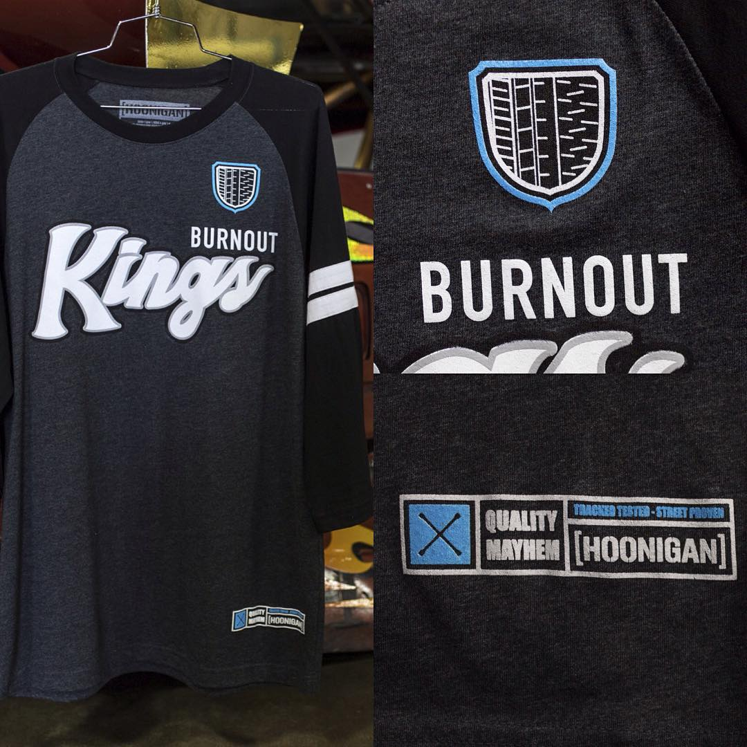 The Burnout Kings raglan 3/4 sleeve tee. Available on #hooniganDOTcom and at our rad retailers: @zumiez @tillys