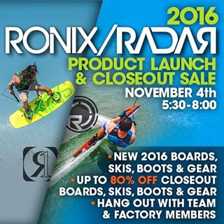 Come out to @perfski tonight from 5:30-8pm. Hang with the Radar/Ronix team, check out the 2016 line and have some fun with the gang. We will see you there! #ronix2016 #ronixlove #oneloveinwake #fortifiedwithlakevibes