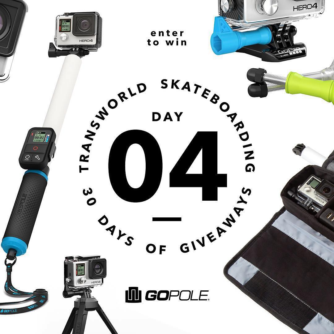 TransWorld SKATEboarding - Day 4 of 30 Days of Giveaways. Head over to twskate.com or click the link in our bio for a chance to win a bundle of GoPole accessories! @transworldskate #tws30doga #gopole