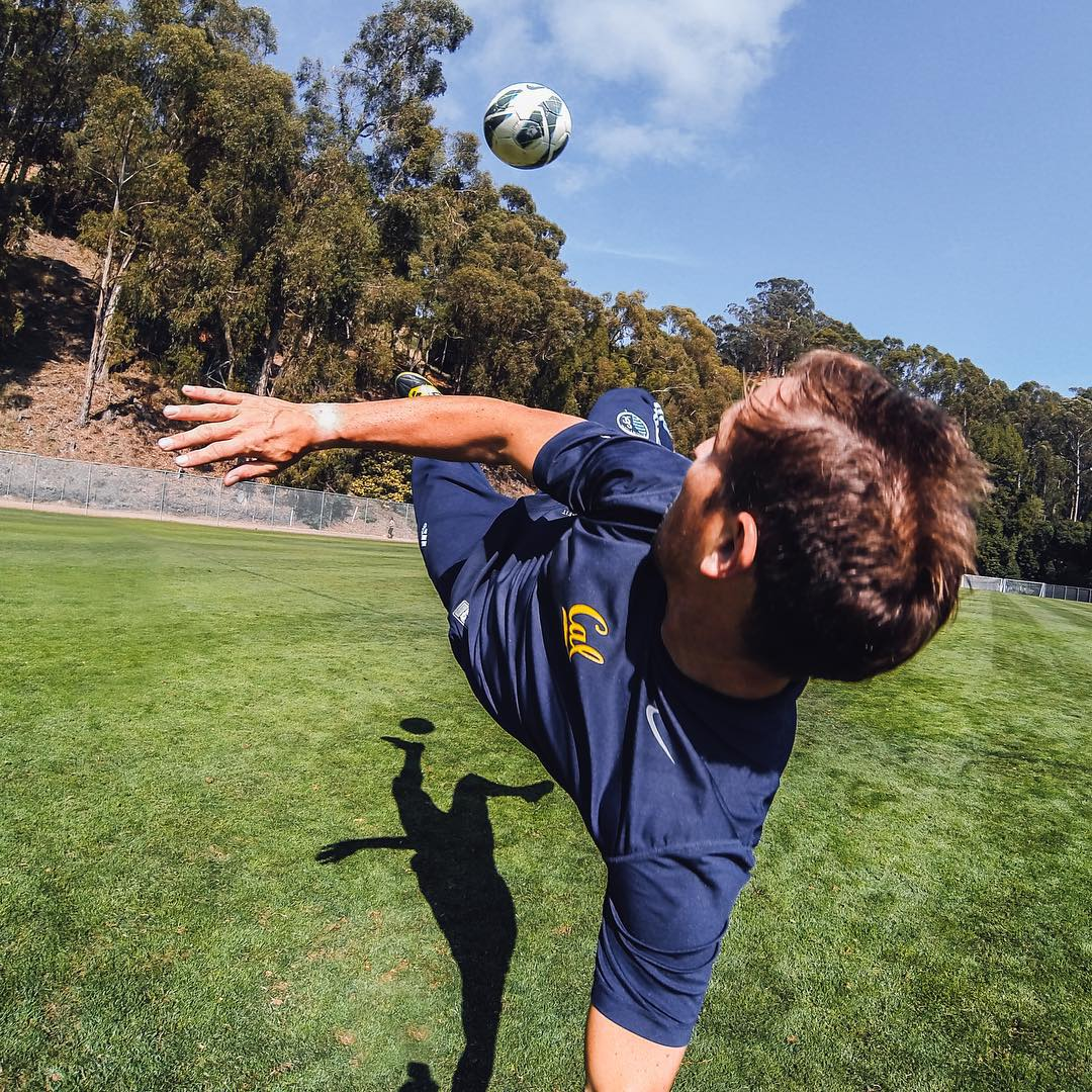 @davispaul tests out some new angles at his old training field in #Berkeley, Ca. He snagged this rad selfie on his #HERO3 set to #burstmode.  Share your training footage with us by clicking the link in our profile. #GoPro