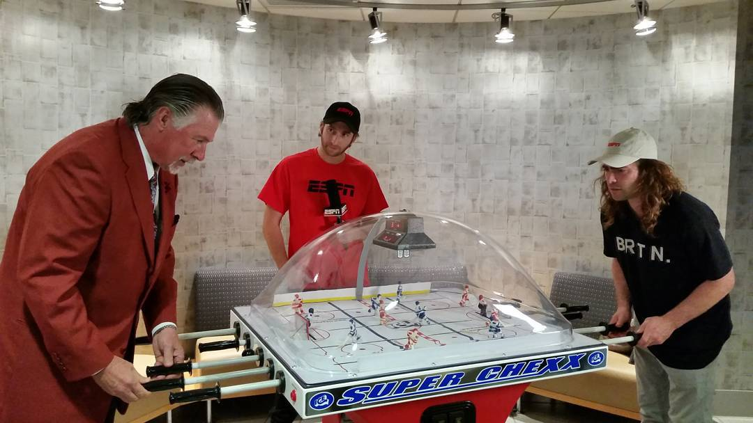Two-time #XGames gold medalist @TravelinDan took on @ESPN NHL analyst Barry Melrose in a game of bubble hockey! Barry - 1 Danny - 0