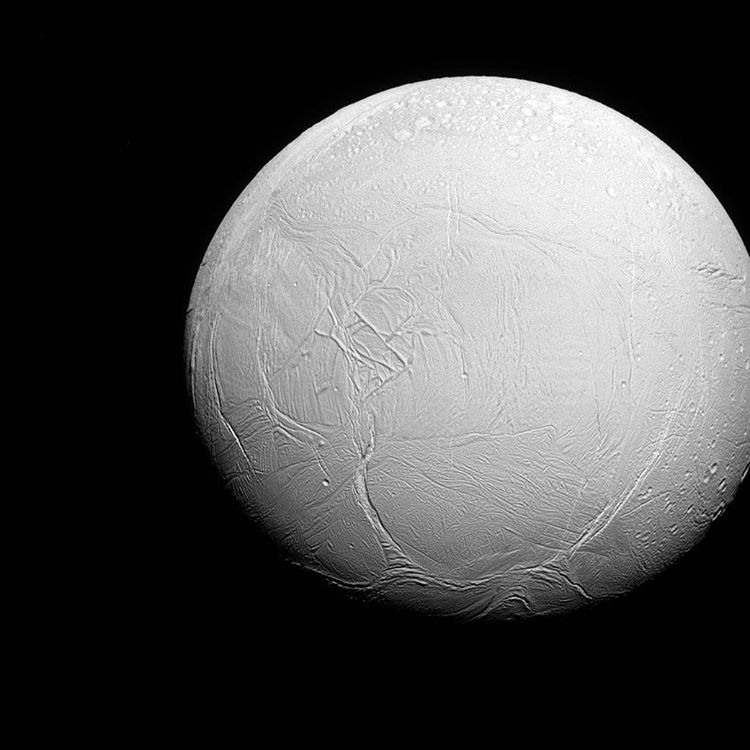 Captured via the Cassini spacecraft is Enceladus, a world divided. To the north, the moon's terrain is icy. To the south, the land is covered in fractures. Perfectly imperfect like most interesting things. The Cassini mission is a cooperative project...